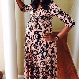 Pink and Black Maternity Maxi Dress